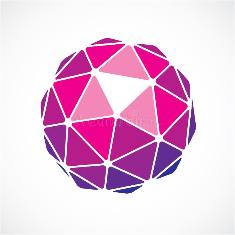 вектора 3d объект низко поли фиолетовый сферически, crea шара перспективы иллюстрация штока