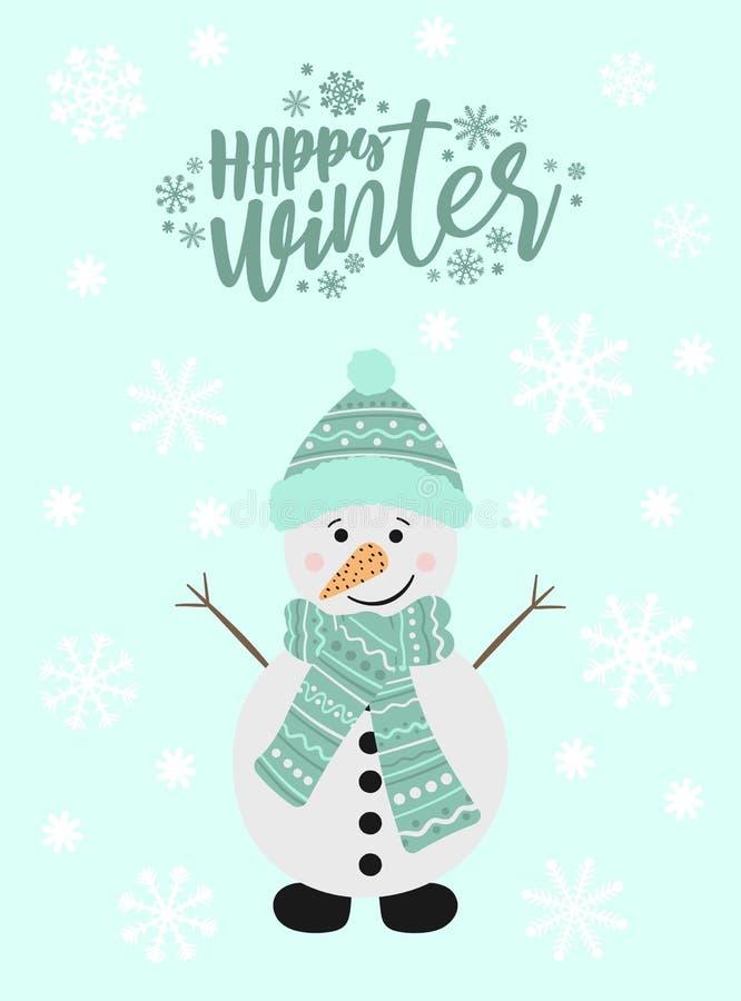 Векториальное изображение снеговика мультфильма в шляпе и шарфе Иллюстрация Нового Года и рождества зимы Нарисованное вручную aga бесплатная иллюстрация
