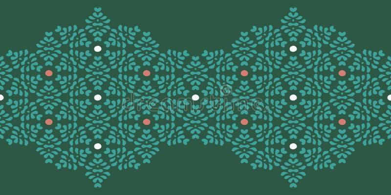 Векторная абстрактная цветочная граница с нерегулярной текстурой точек в геометрической компоновке Этническая зеленая рамка для п бесплатная иллюстрация