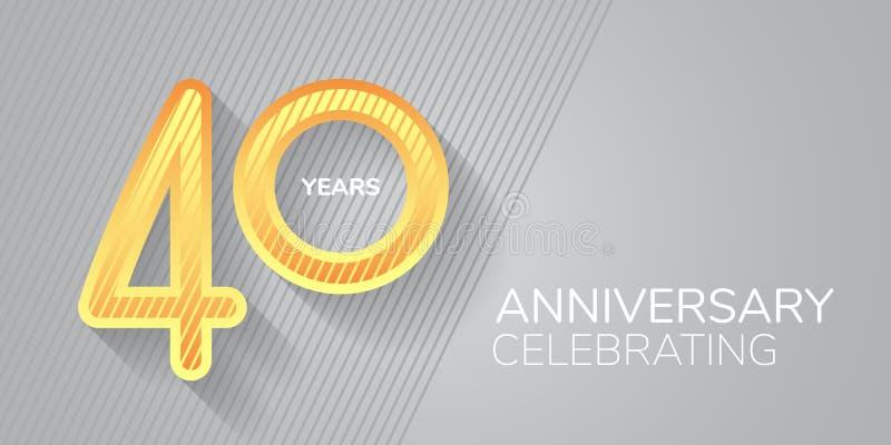 Векторная икона 40 лет, логотип Неоновый номер и текст для 40-летия бесплатная иллюстрация