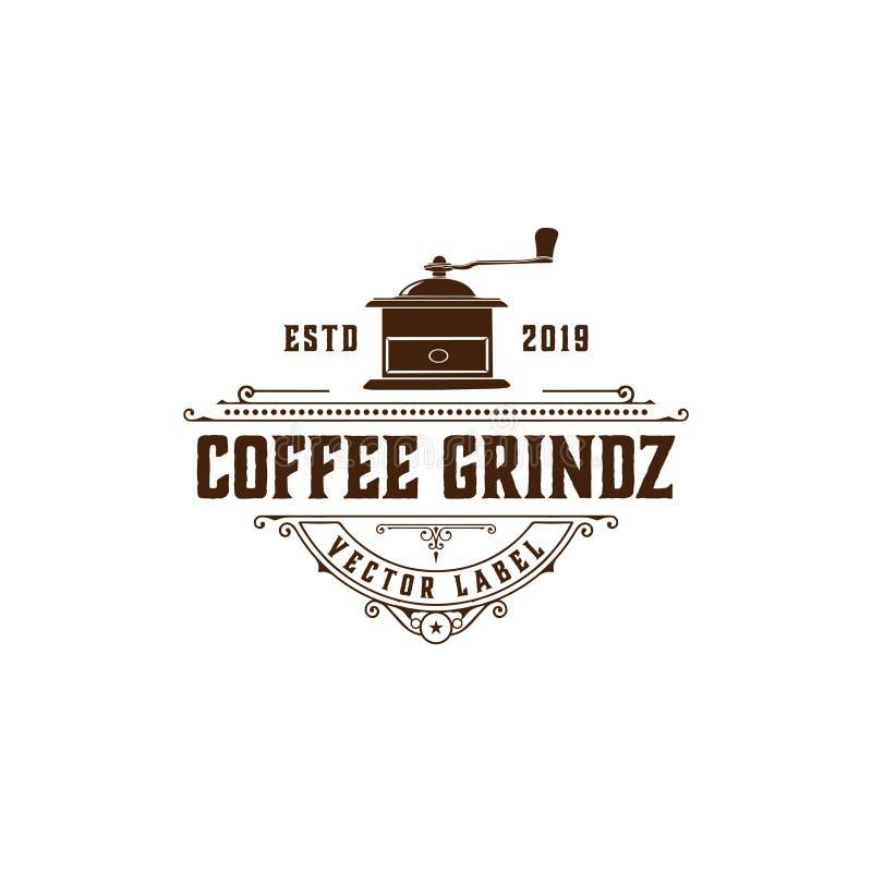 Векторная иллюстрация дизайна логотипов COFFEE GRIND LABEL С ORNAMENT LABEL/ иллюстрация штока