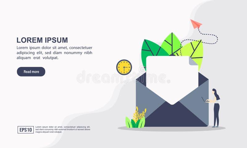Векторная иллюстрация концепции маркетинга и связи по электронной почте с помощью 'email marketing' цифровая реклама и информацио бесплатная иллюстрация