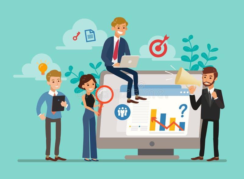 Векторная иллюстрация крошечных персонажей бизнес-аналитиков или аудиторов, анализирующих статистические данные иллюстрация штока