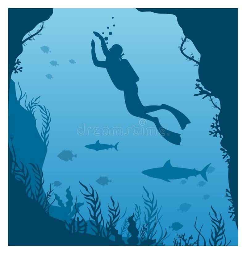 Векторная иллюстрация погружения глубоко в воду Силуэт водолазного водолаза, человек в акавалунге с фонариком и коралловым рифом, иллюстрация штока