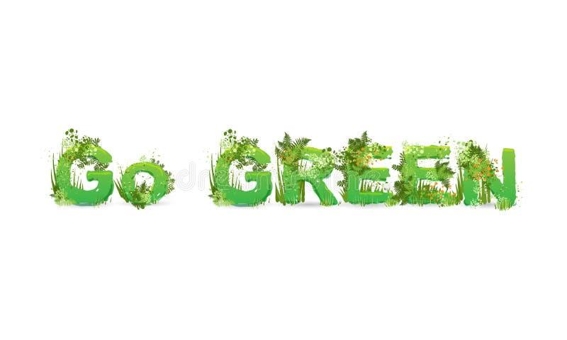Векторная иллюстрация слова Go Green с заглавными буквами, стилизованными как тропический лес, с зелеными ветвями, листьями, трав бесплатная иллюстрация