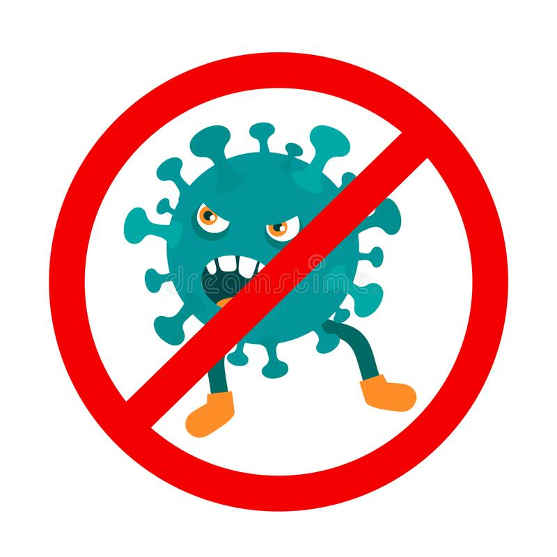 Векторная карикатура иллюстрация забавного коронавируса за стоп-знаком, изолированным на белом фоне иллюстрация штока