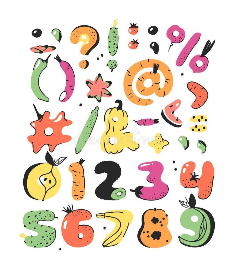Векторная картонная иллюстрация овощей и фруктов ABC Рукорисованный шрифт с вегетарианской едой Фактический растительный алфавит  бесплатная иллюстрация