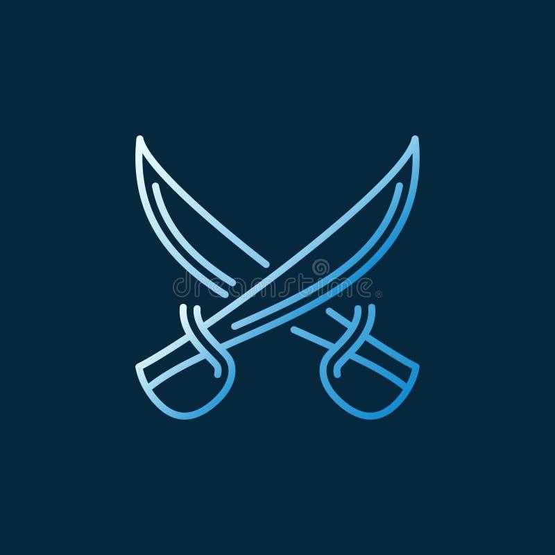 Векторная концепция Crossed Sabers линейно окрашенная иконка или знак бесплатная иллюстрация