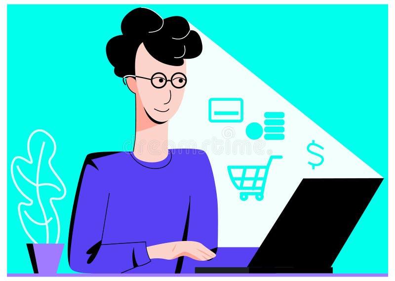 Векторная плоская иллюстрация молодого человека, совершающего покупку онлайн, как известно из абстрактных иконок в свете бесплатная иллюстрация
