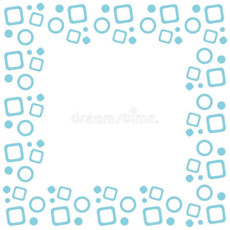 Векторная синяя квадратная рамка с геометрическим узором кругов и кваРиллюстрация штока