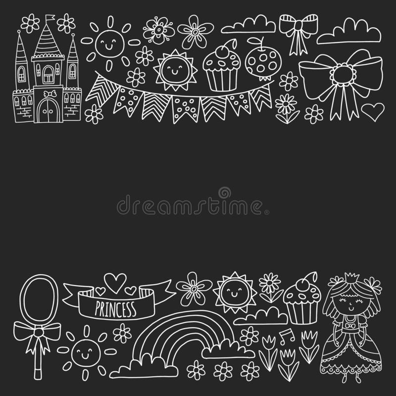 Векторная структура для маленьких девочек. Иллюстрация княгини на праРиллюстрация вектора