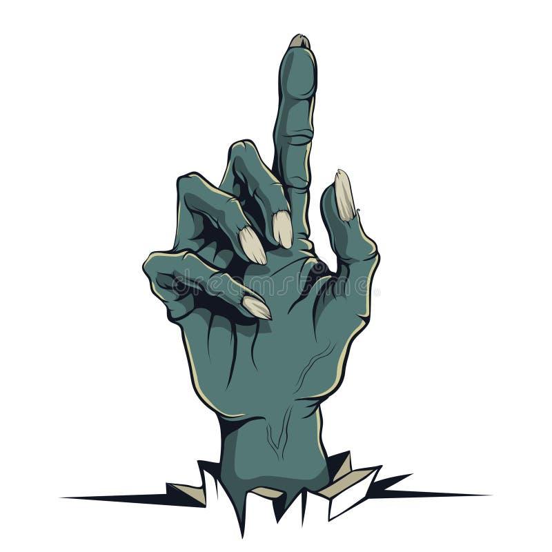 Векторные графики, иллюстрация в стиле шуточной руки зомби с указывать палец иллюстрация вектора