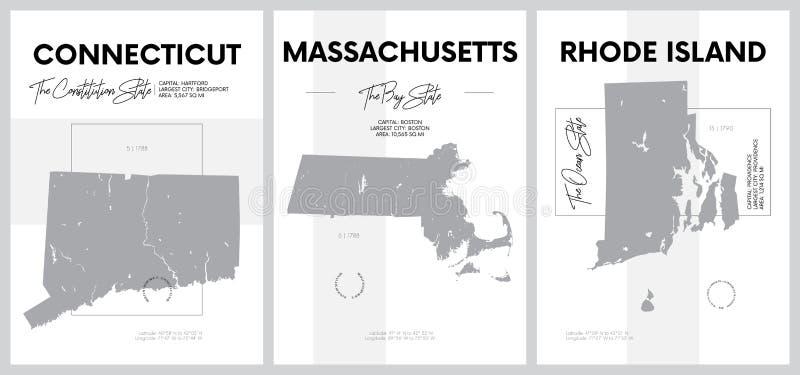 Векторные плакаты с очень подробными силуэтами карт штатов Америки, Отдел Новая Англия - Коннектикут, иллюстрация штока
