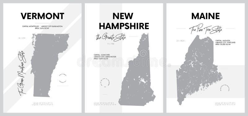 Векторные плакаты с очень подробными силуэтами карт штатов Америки, Подразделение Нью-Англия - Вермонт, Нью-Гемпшир, иллюстрация вектора