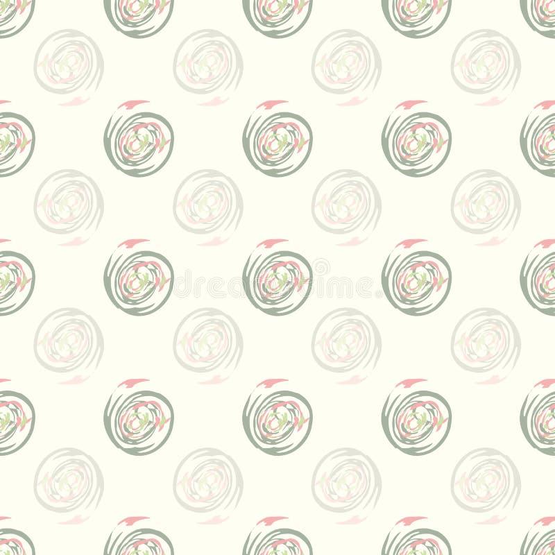 Векторный бесшовный узор с пастельно-розовыми и шлифованными кружками в пастухом стиле кисть на фоне крема иллюстрация вектора