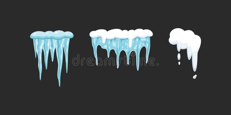 Векторный набор значков в стиле мультфильма снежно-векторные рамы, снежные шапки и сноудрифт иллюстрация штока