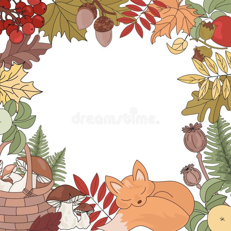 Векторный набор иллюстраций векторного сезона AAUTUMN BORDER Animal Season бесплатная иллюстрация