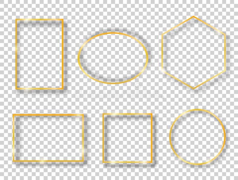 Векторный набор с золотыми блестящими винтажными кадрами, изолированными на прозрачном фоне Роскошные светящиеся реалистичные гра иллюстрация вектора