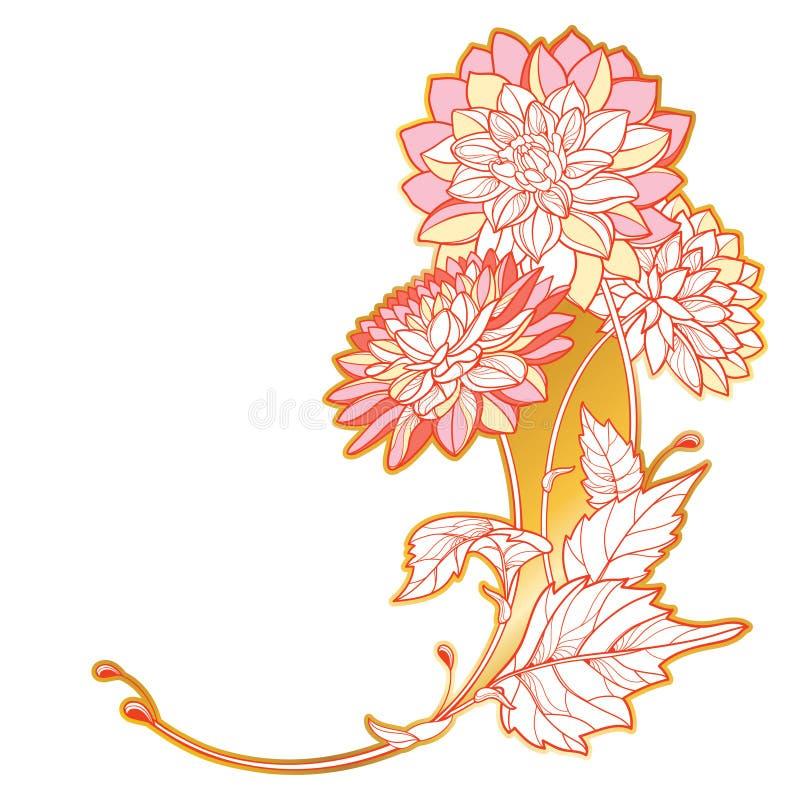 Векторный угловой букет с контуром цветка Dahlia или Dalia в золотом и пастельно-красном, изолированный на белом фоне Куча Далии иллюстрация штока