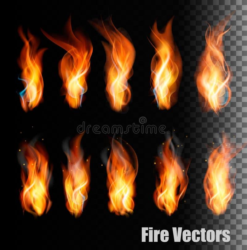 Векторы огня на прозрачной предпосылке бесплатная иллюстрация