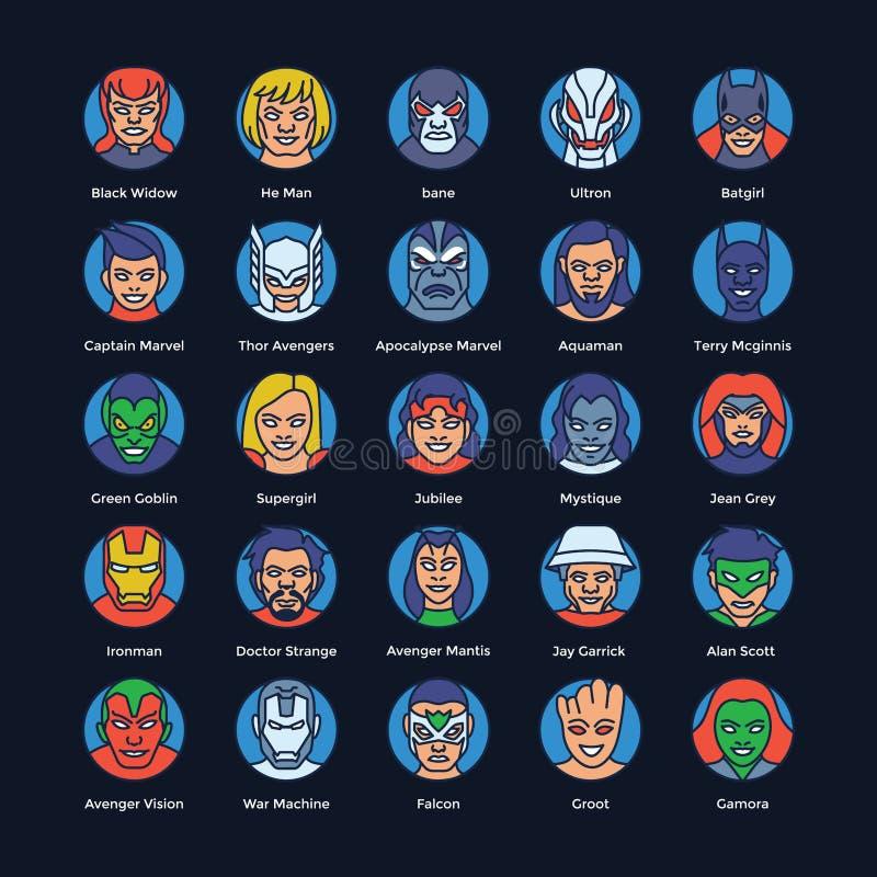 Векторы супергероев и злодеев плоские пакуют иллюстрация вектора