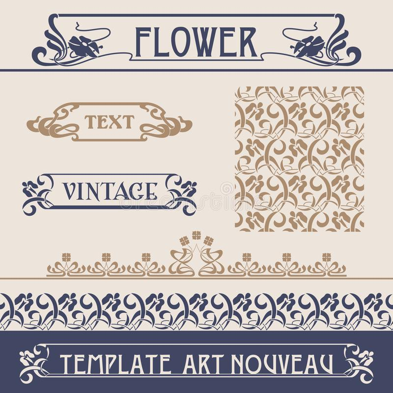 векторы nouveau искусства установленные иллюстрация штока