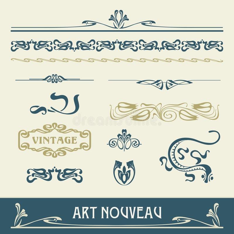 векторы nouveau искусства установленные иллюстрация вектора
