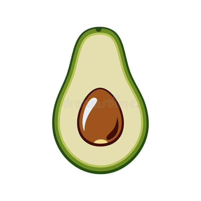 Вектор авокадоа изолированный на белом backgroud Зеленое целый авокадоа, отрезок в половине, с лист и семенем Иллюстрация руки ве бесплатная иллюстрация