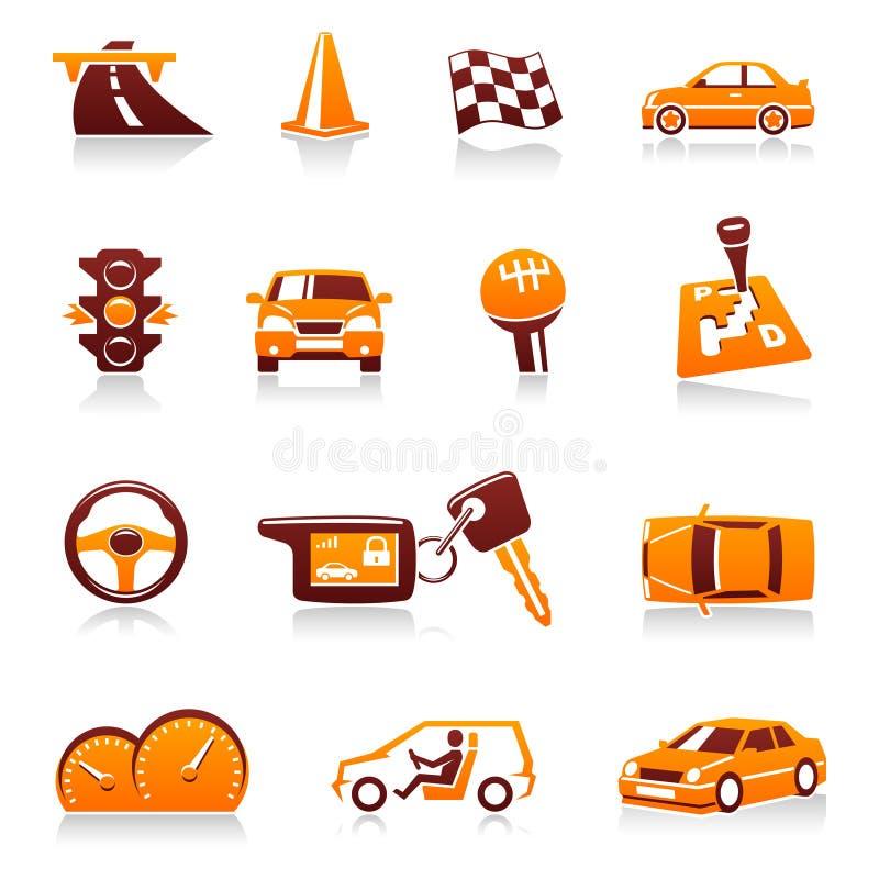 вектор автомобильной иконы автомобиля установленный иллюстрация вектора