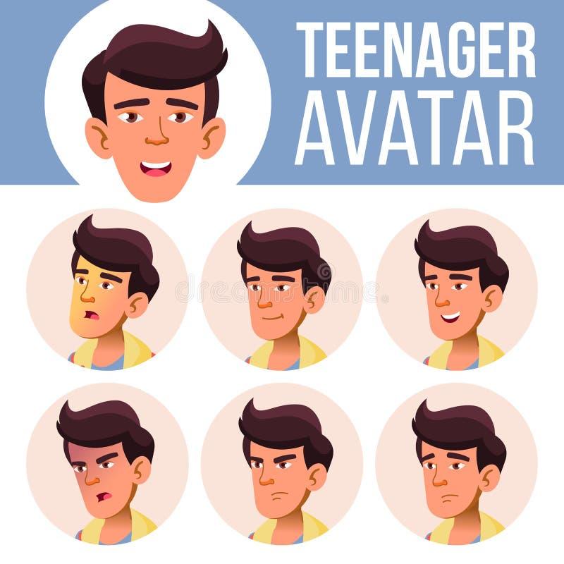 Вектор азиатского предназначенного для подростков воплощения мальчика установленный Смотрите на взволнованности эмоционально Случ иллюстрация штока