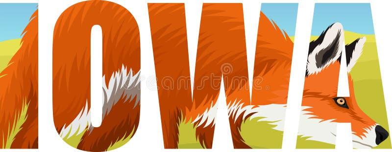 Вектор Айова - слово американского штата с красной лисой иллюстрация вектора
