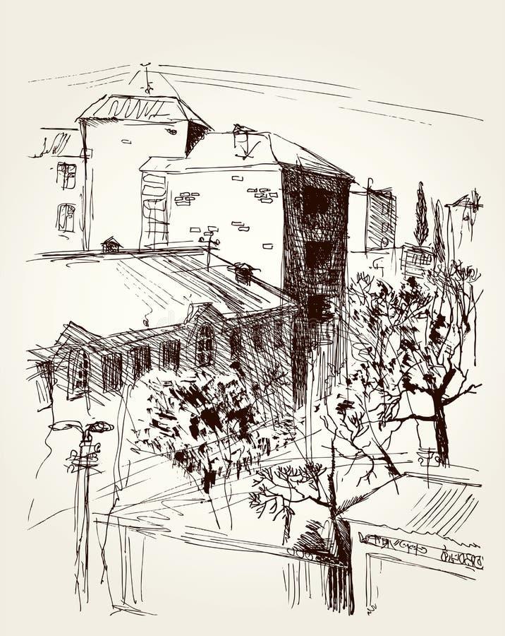 вектор архива eps городского пейзажа включенный Парк около многоэтажных зданий иллюстрация штока