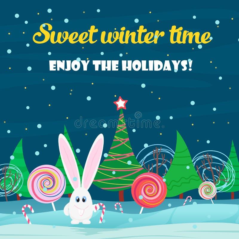 вектор архива eps рождества карточки 8 предпосылок включенный Кролик с конфетой помадок в лесе ночи рождественской елки бесплатная иллюстрация