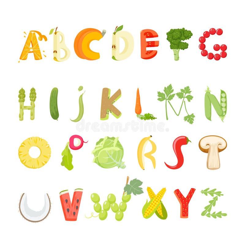 Вектор алфавита еды бесплатная иллюстрация