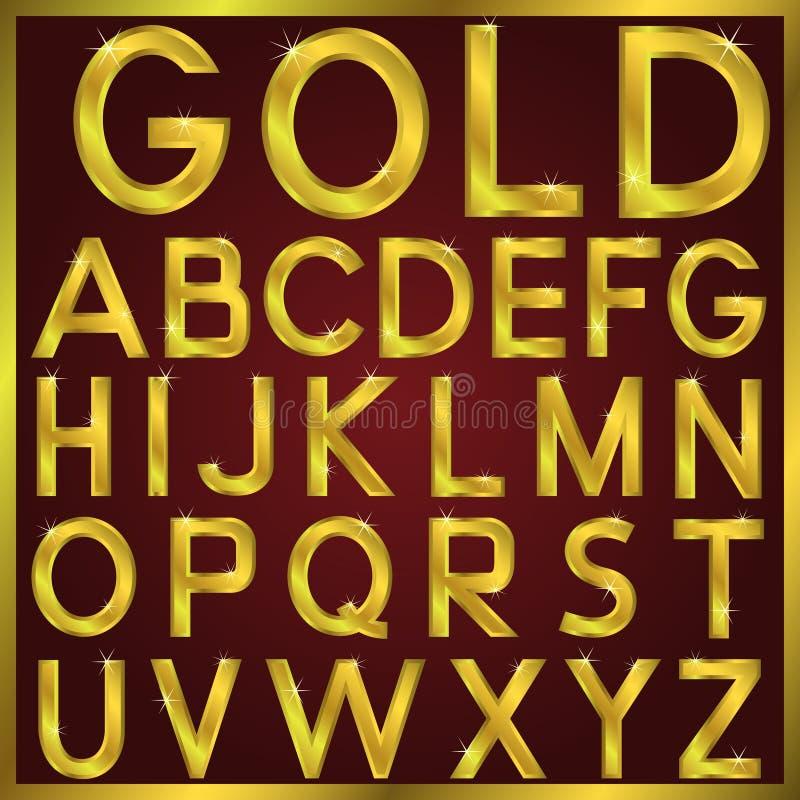 вектор алфавита золотистый иллюстрация вектора