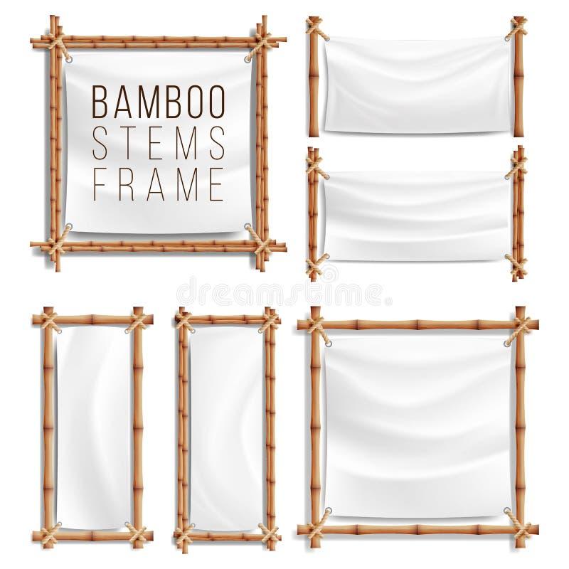 Вектор бамбуковой рамки установленный с холстом Деревянная рамка бамбуковых ручек swathed в веревочке шаблон знамени иллюстрация вектора