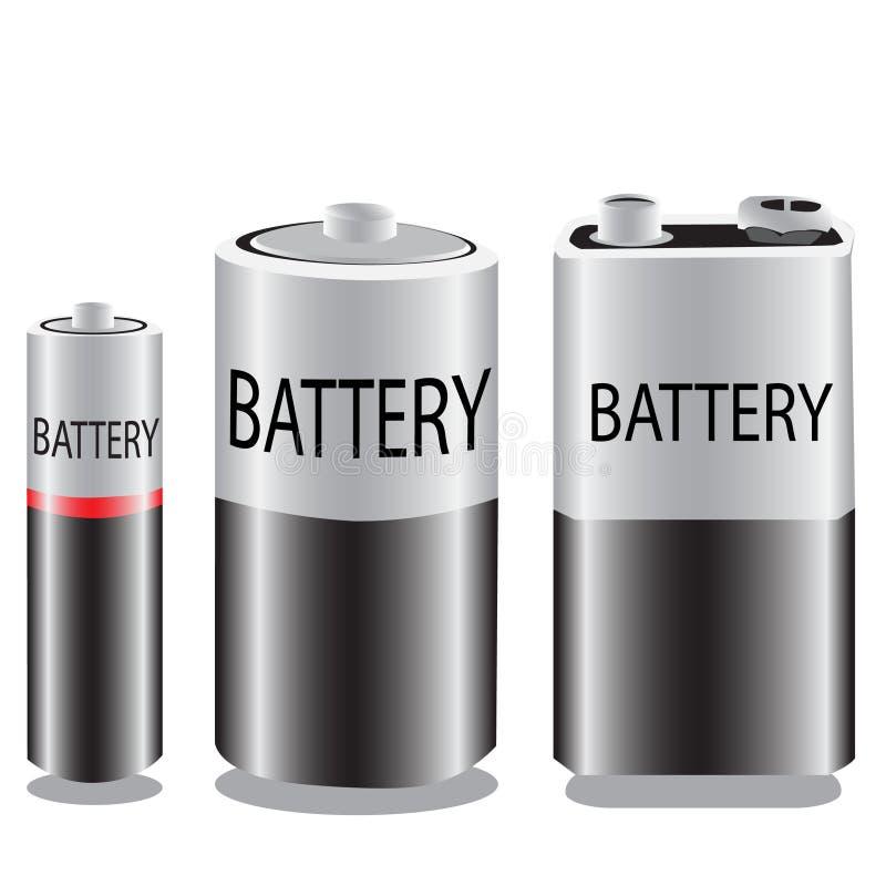 Вектор батарей aa, aaa, больших, и 9 вольт иллюстрация штока