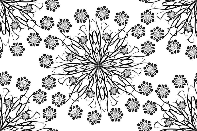Вектор безшовный орнаментальный oriental цветет мандалы иллюстрация штока