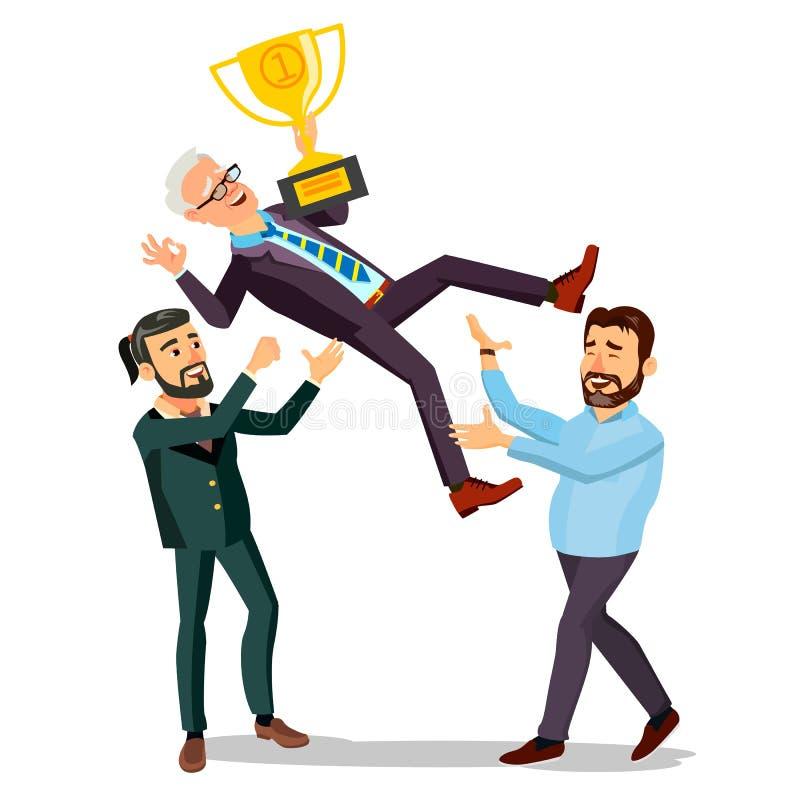 Вектор бизнесмена победителя Бросая коллега вверх Бизнесмены празднуя победу С золотым трофеем первый приз иллюстрация штока