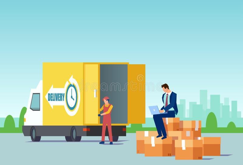 Вектор бизнесмена продавая продукты онлайн используя быстрые обслуживания доставки иллюстрация штока