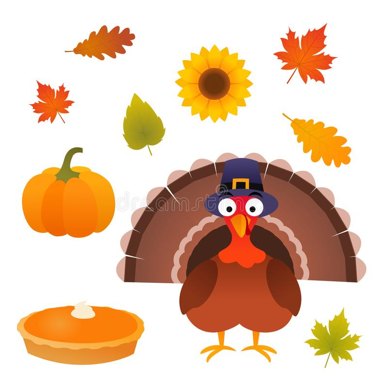 Вектор благодарения установленный с индюком, пирогом, тыквой, листьями и солнцецветом стоковая фотография rf
