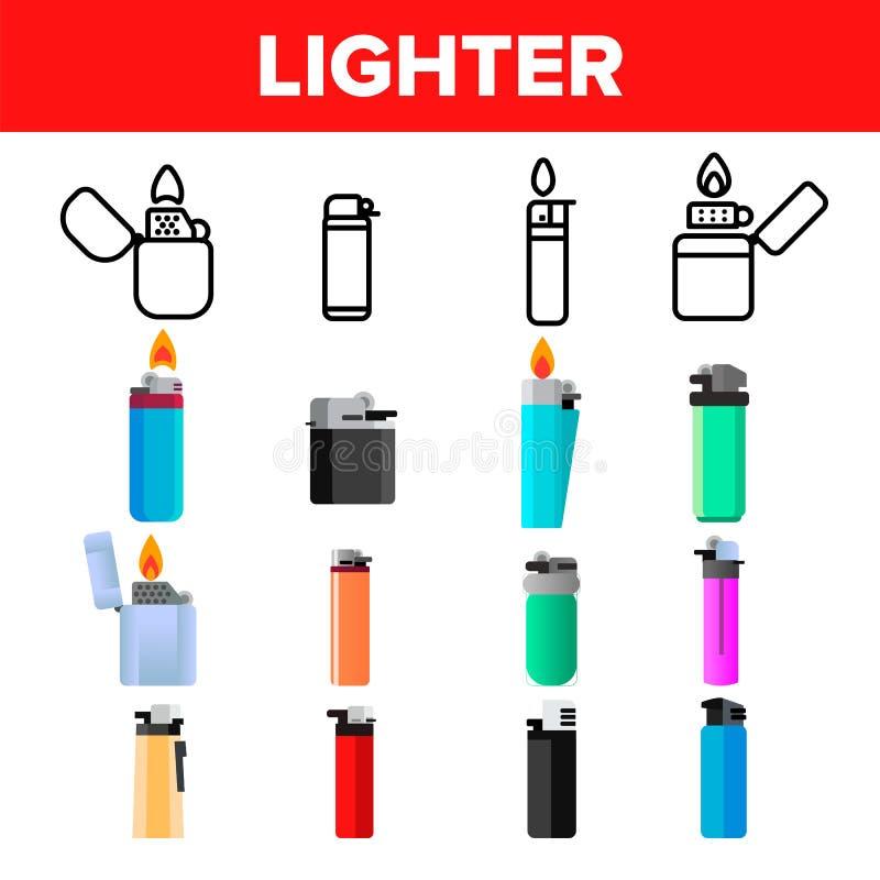 Вектор более светлого значка установленный Инструмент газа Значки табака более светлые Горя объект Пластиковый аксессуар Линия, п иллюстрация штока