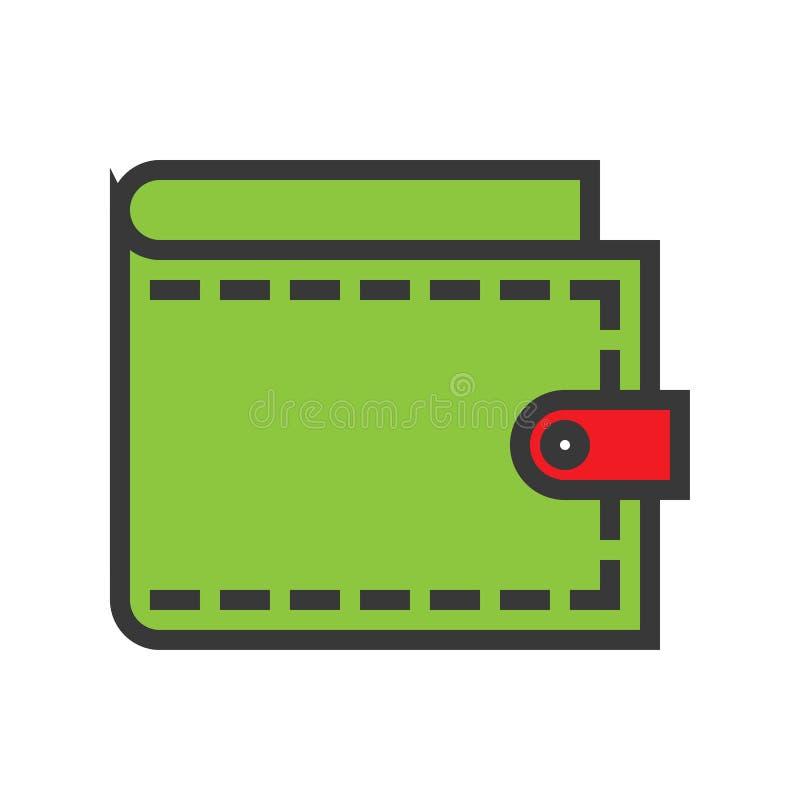 Вектор бумажника, онлайн ходя по магазинам заполненный план значка стиля editable иллюстрация штока