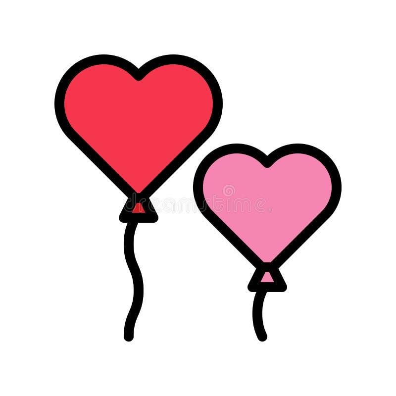 Вектор, Валентайн и любовь воздушного шара сердца связали заполненный значок плана бесплатная иллюстрация