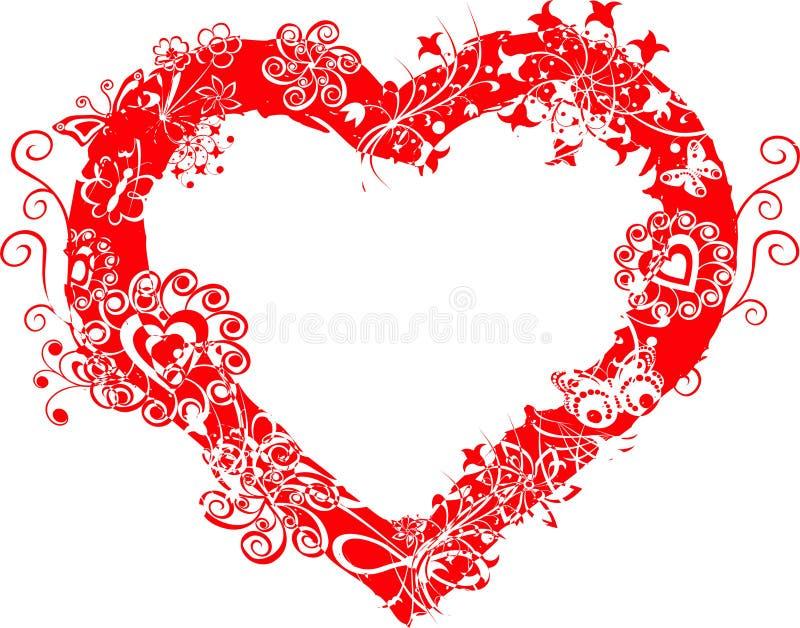 вектор Валентайн сердца grunge рамки иллюстрация штока