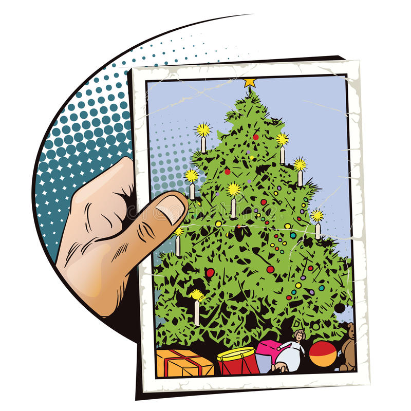 вектор вала иллюстрации подарков рождества Рука с фото бесплатная иллюстрация