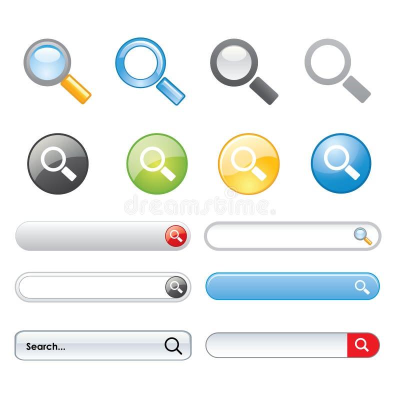 Вектор вебсайта элементов дизайна символа значка кнопки поиска иллюстрация вектора