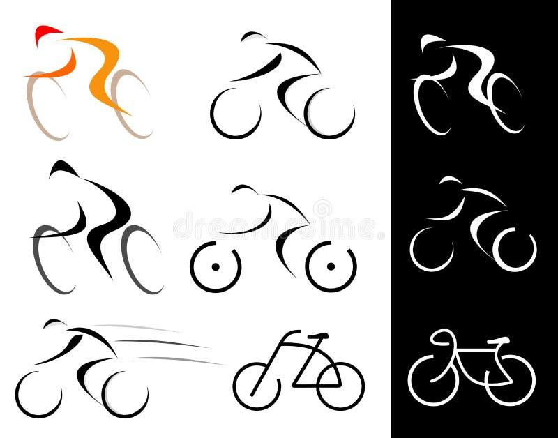 вектор велосипедиста изолированный иконами иллюстрация штока