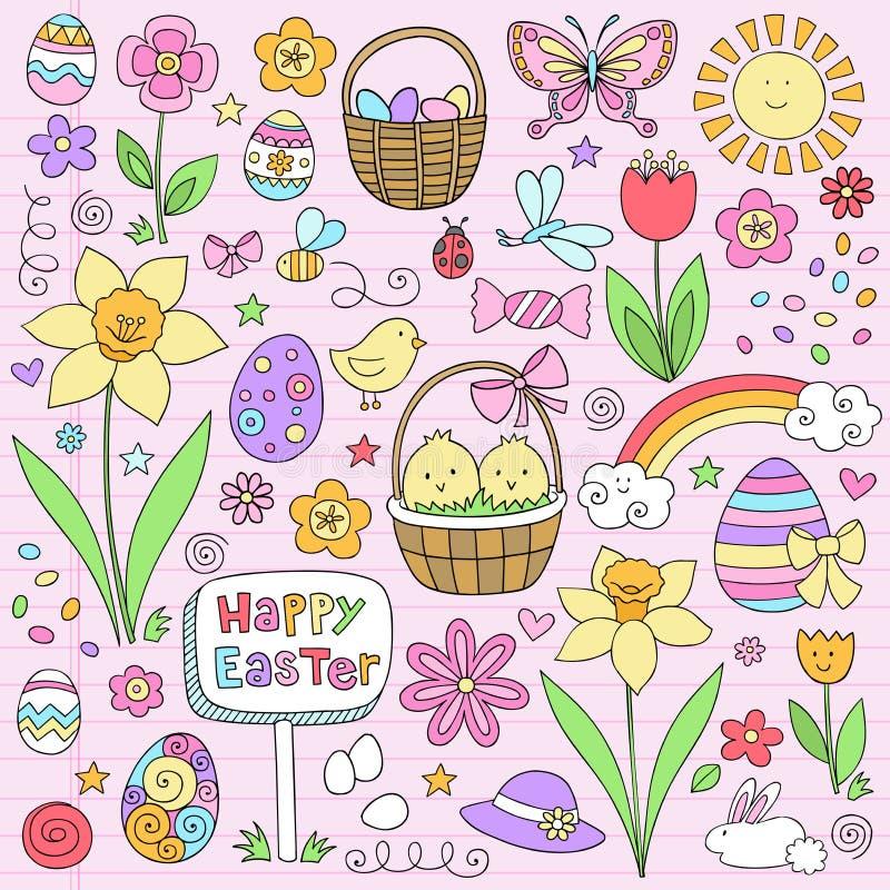 вектор весны тетради пасхи doodles установленный иллюстрация вектора