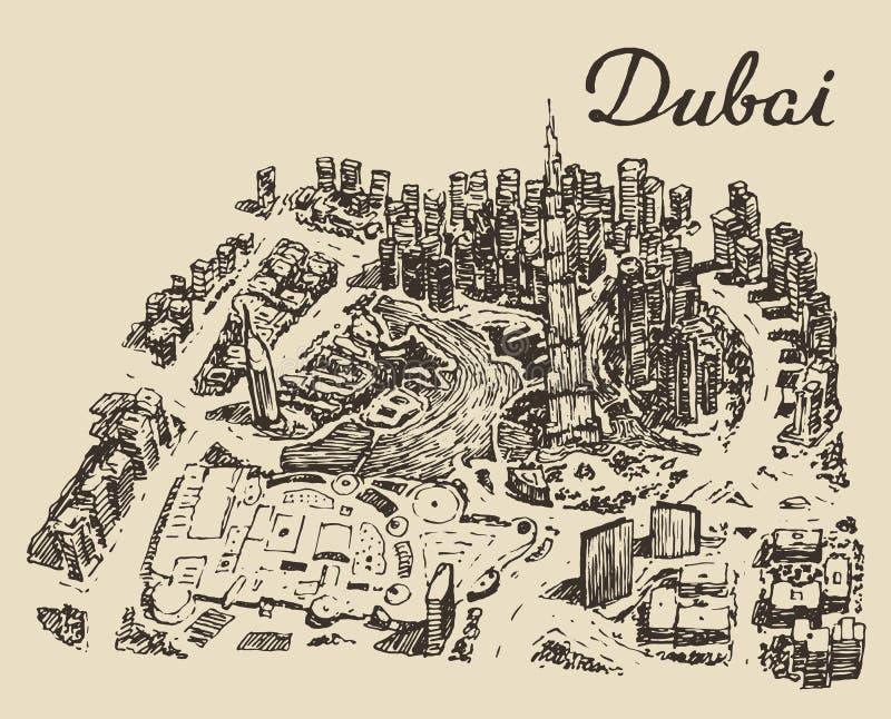 Вектор взгляд сверху Дубай нарисованный рукой выгравированный иллюстрация вектора